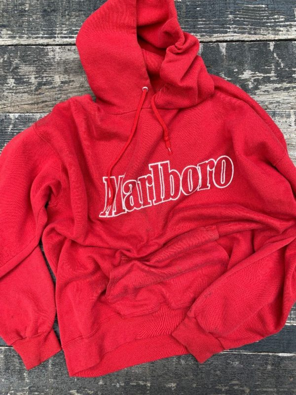 product details: RAD SUPER SOFT & THIN TATTERED MARLBORO LOGO HOODIE AS-IS photo