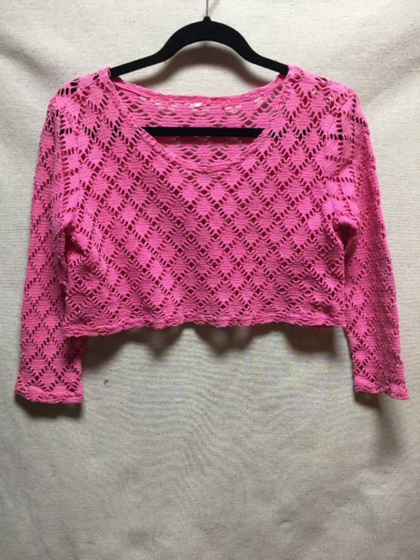 product details: 1980S-90S LONG SLEEVE NETTED CROPPED TOP photo