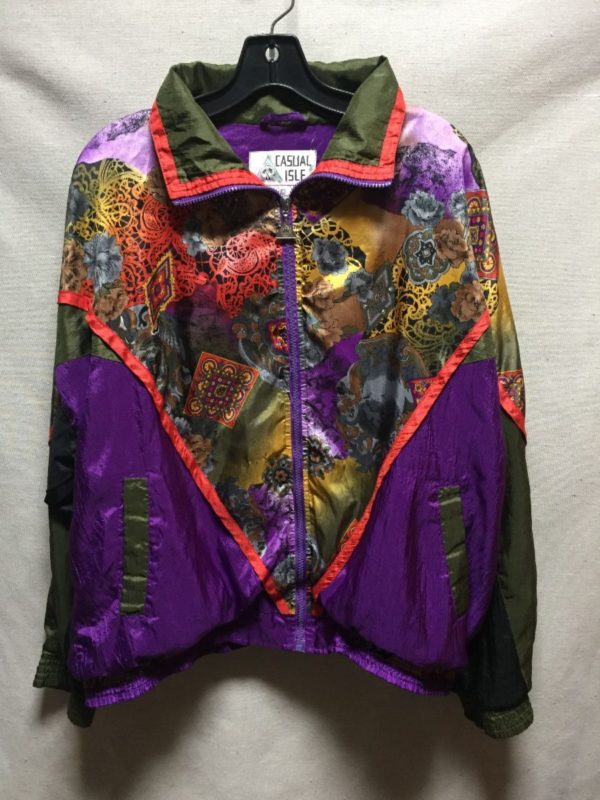 product details: VINTAGE 1980S-90S FUNKY FLORAL MOROCCAN PRINT BAROQUE STYLE WINDBREAKER photo