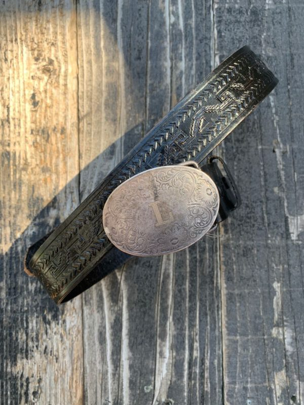 product details: TOOLED LEATHER BELT BEAUTIFUL ENGRAVED L INITIAL BELT BUCKLE photo