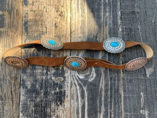 product details: LEATHER WAIST BELT SILVER CONCHOS & FAUX TURQUOISE CABOCHONS AS-IS photo