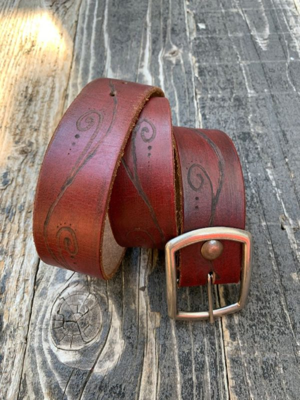 product details: WIDE ETCHED LEATHER BELT CUT TIP AS-IS photo