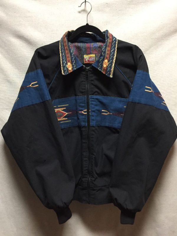product details: RAD 1990S CANVAS STYLE WORK JACKET WITH AZTEC DESIGN COLLAR & DETAIL & PRINTED BLANKET LINING photo