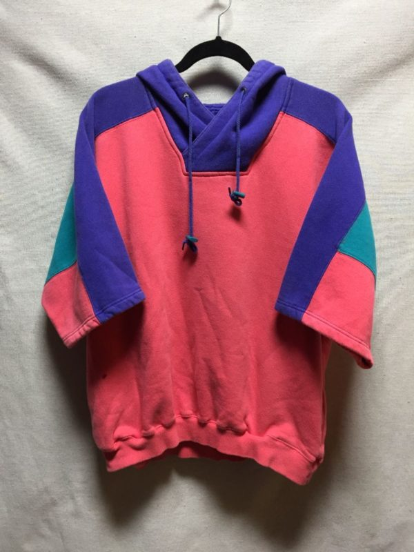 product details: RAD 1980S SHORT SLEEVE COLOR BLOCK HOODED SWEATSHIRT photo