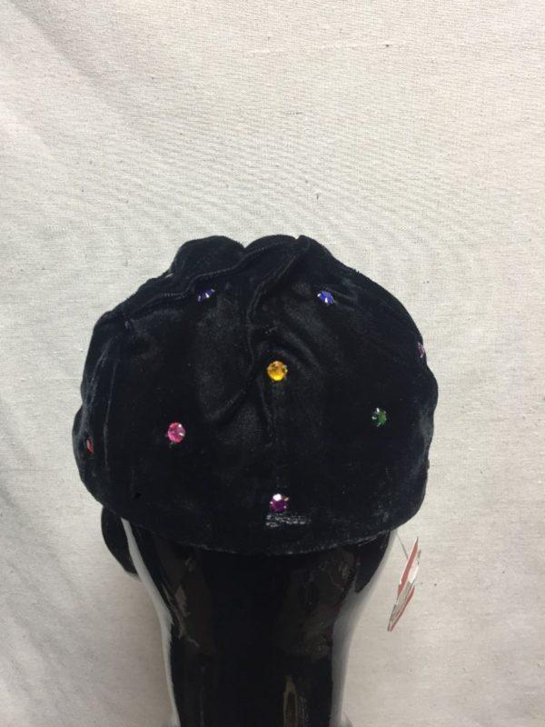 product details: CAP HAT VELVET W/ RHINESTONES photo