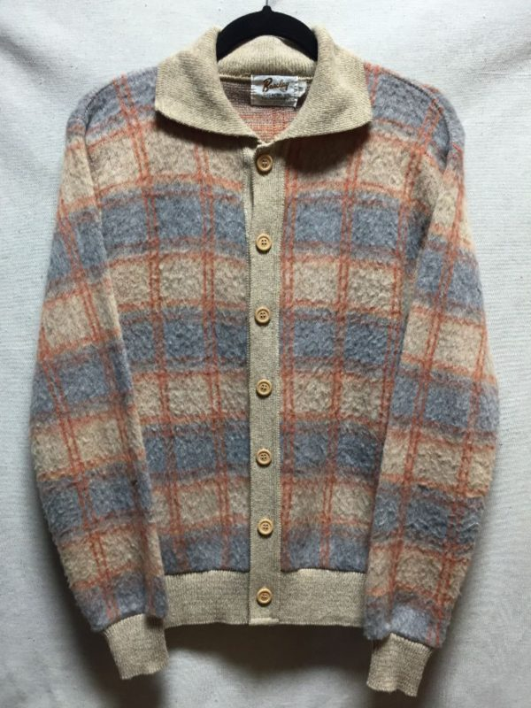 product details: RETRO FUZZY LONG SLEEVE POLO PULLOVER SWEATER PLAID DESIGN photo