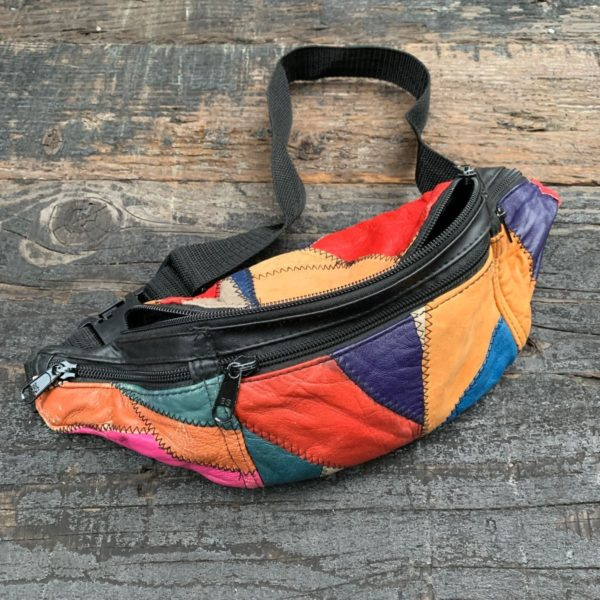 product details: 1980S-90S COLORBLOCK PATCHWORK LEATHER FANNY PACK MULTIPLE COMPARTMENTS photo