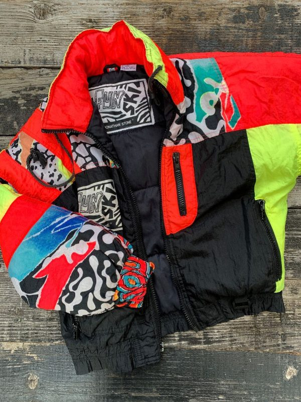 product details: RAD 1980S NEON PUFFY SKI JACKET CRAZY PATTERN SMALL FIT AS-IS photo