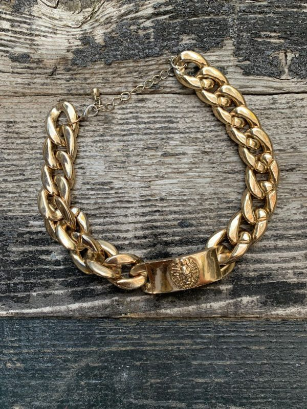 product details: 1980S LIGHT WEIGHT CHUNKY LION CHAIN PLAQUE CHOKER NECKLACE photo