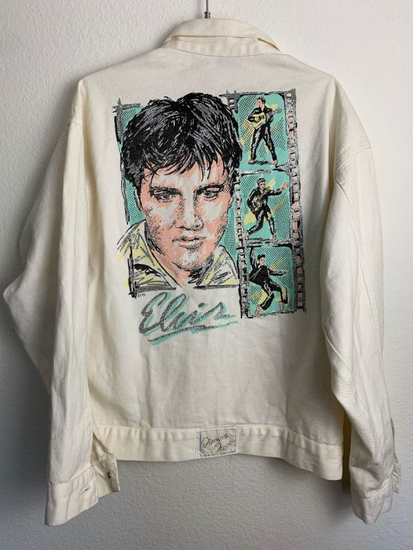 product details: RARE 1980S OVERSIZED DENIM JACKET WITH ELVIS PRESLEY PAINTED ILLUSTRATION photo