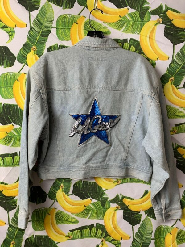 product details: 1980S DEADSTOCK LIGHT WASH L.A. GEAR CROPPED DENIM JACKET WITH LARGE SEQUIN BACK PATCH photo