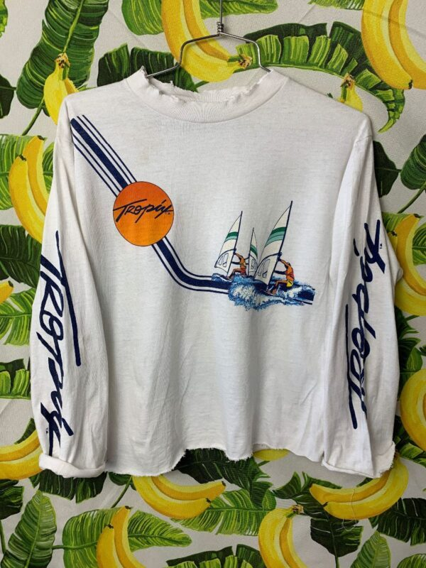 product details: 1980S CROPPED TROPIX WIND SAILING GRAPHIC LONG SLEEVE TSHIRT AS-IS *DISTRESSED photo