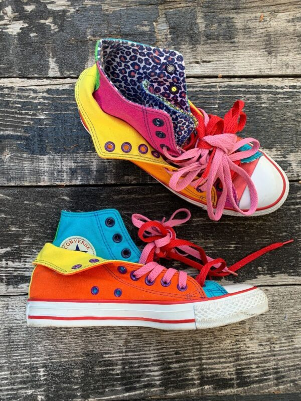 product details: RARE & AMAZING  ONE OF A KIND NEON COLOR BLOCK HIGH TOP CHUCK TAYLOR CONVERSE SNEAKERS photo