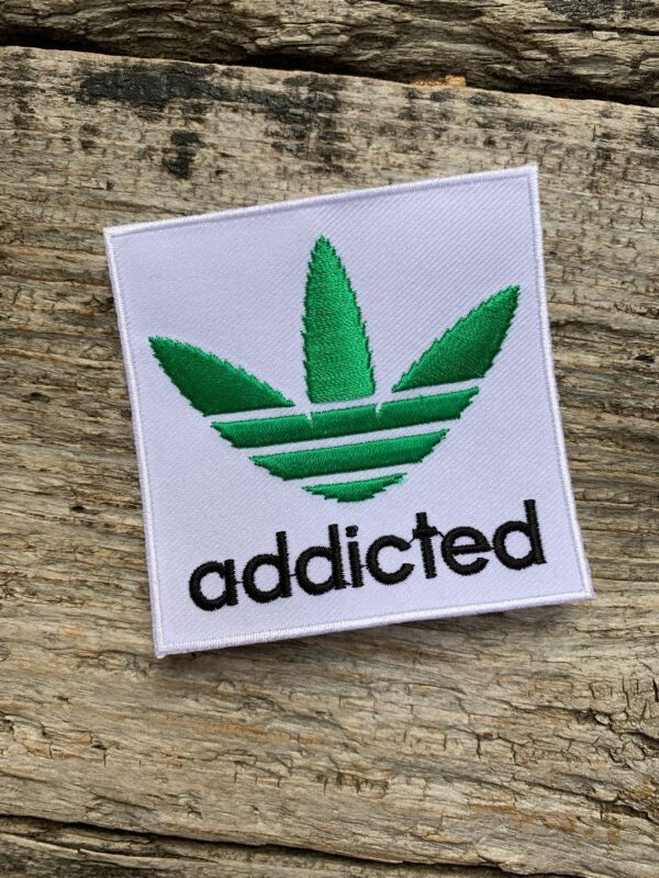 product details: EMBROIDERED ADDICITED WEED LEAF ADIDAS PARODY  IRON-ON OR SEW-ON PATCH photo