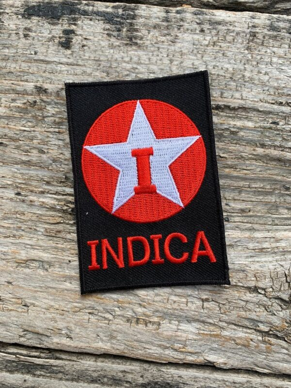product details: EMBROIDERED INDICA TEXACO LOGO PARODY IRON-ON OR SEW-ON PATCH photo