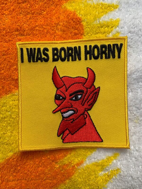 product details: SILLY SQUARE DEVIL IRON-ON OR SEW-ON  PATCH I WAS BORN HORNY photo