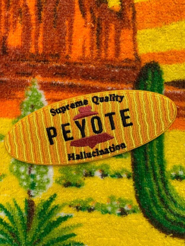 product details: COOL OVAL PEYOTE PARODY EMBROIDERED IRON-ON OR SEW-ON PATCH photo