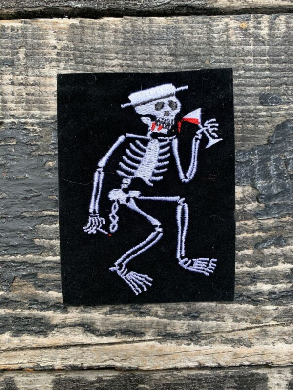 product details: SOCIAL DISTORTION SKELETON LOGO MARTINI PATCH VELVET FLOCKED PATCH IRON-ON OR SEW-ON photo