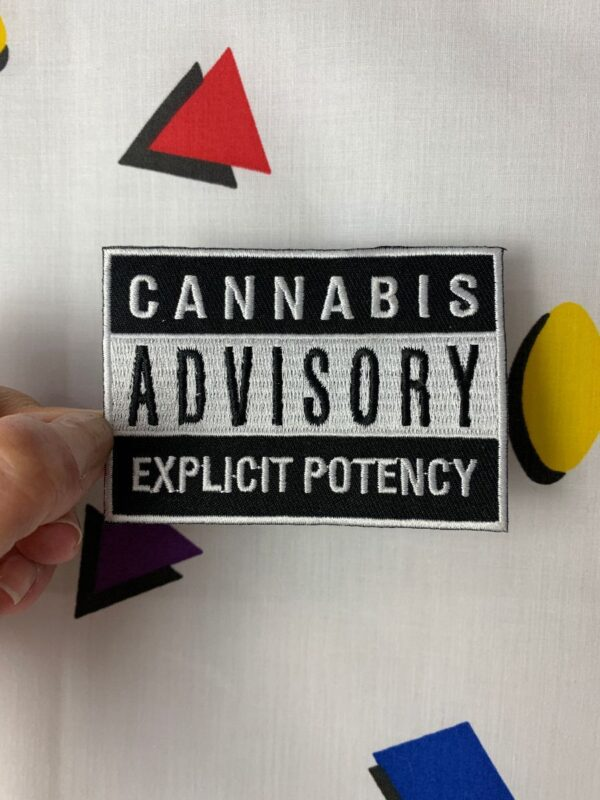 product details: CANNABIS ADVISORY EXPLICIT POTENCY WARNING LABEL PARODY EMBROIDERED PATCH photo