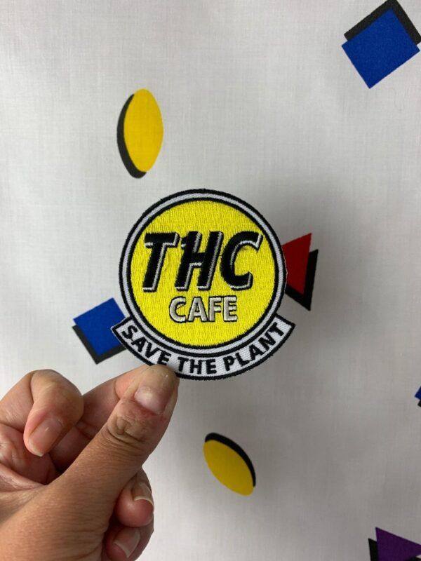 product details: THC PATCH HARD ROCK CAFE PARODY EMBROIDERED IRON-ON OR SEW-ON PATCH photo