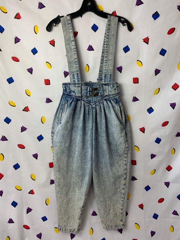 product details: 1980S HIGH WAIST ACID WASH TAPERED OVERALLS ZIPPER BACK SMALL FIT photo