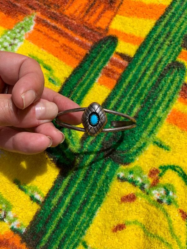 product details: ADJUSTABLE SHADOWBOX TURQUOISE STERLING CUFF BRACELET photo