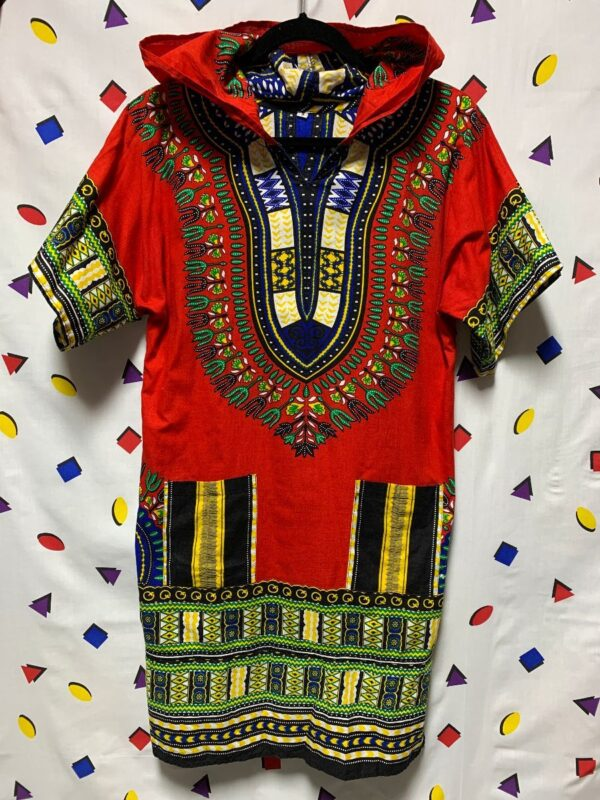 product details: LONGER CUT COTTON DASHIKI PULLOVER HOODED TUNIC TOP / DRESS photo
