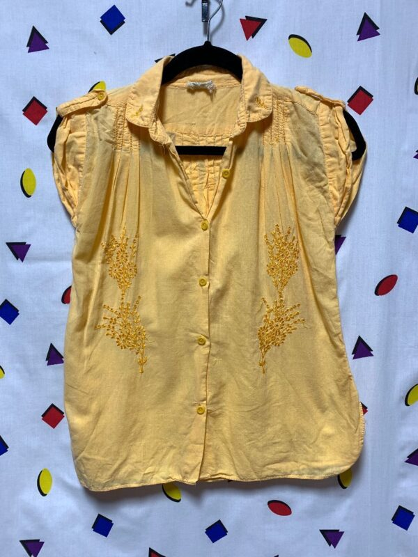 product details: CAP SLEEVE INDIA COTTON BLOUSE WITH EMBROIDERY photo
