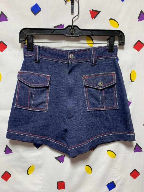 product details: HIGH WAIST RETRO STRETCH DENIM SHORTS FRONT POCKETS CONTRAST STITCHING photo
