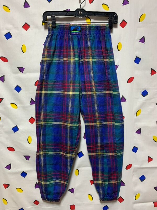 product details: 1980S PLAID PRINT FLANNEL JOGGERS W/ ELASTIC WAIST SMALL FIT photo