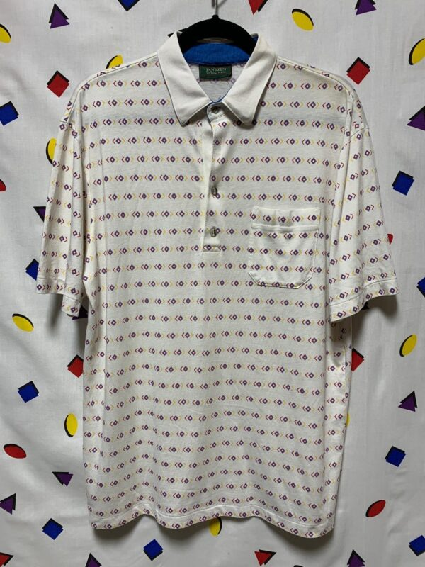 product details: FUNKY GEOMETRIC PRINTED COLLARED POCKET POLO STYLE SHIRT - AS IS photo