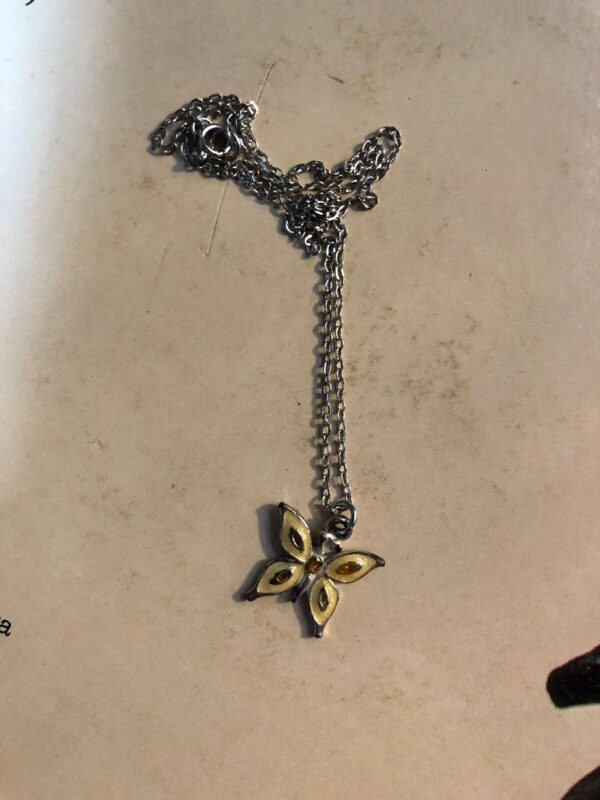 product details: ENAMELED MINI BUTTERFLY PENDANT WITH DAINTY LINK CHAIN photo