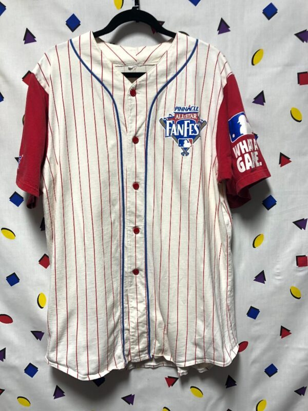 product details: MLB PINNACLE ALL STAR FAN FEST PIN STRIPED COTTON BASEBALL JERSEY photo