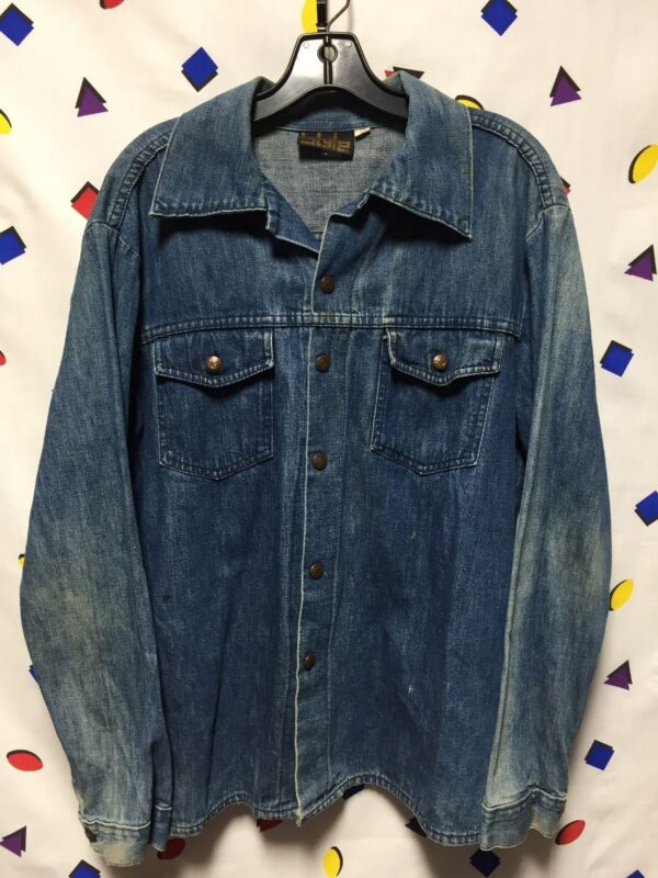 product details: RAD VINTAGE 1970S DENIM BUTTON UP SHIRT SNAP BUTTONS AS-IS photo