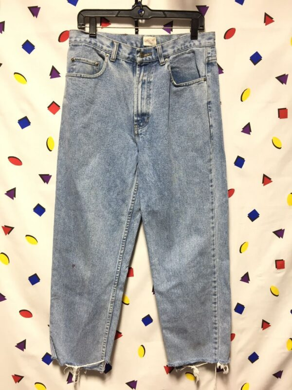 product details: 1990S STRAIGHT LEG LIGHT WASH DENIM JEANS AS- IS photo