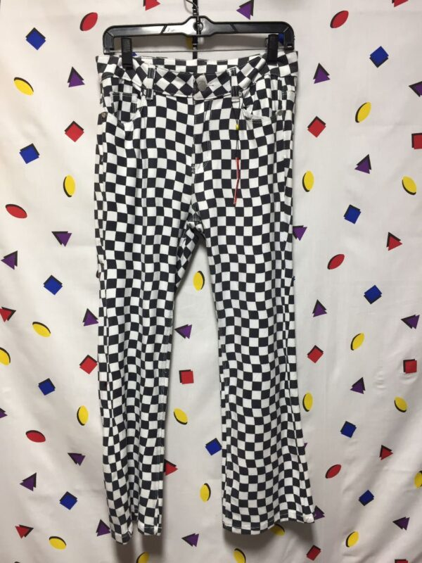 product details: CHECKERED POLYESTER FLARE PANTS photo