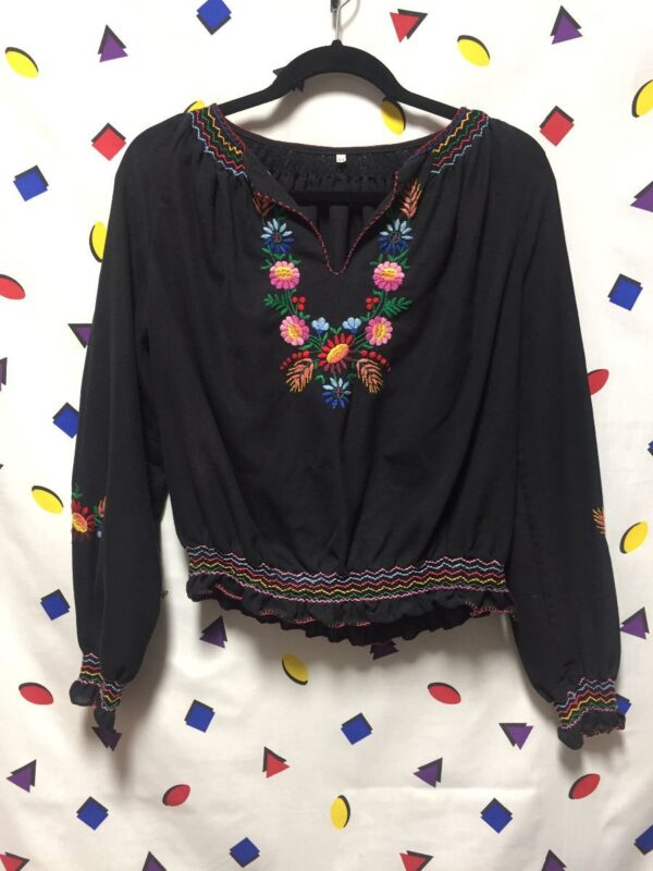 product details: LONG SLEEVE EMBROIDERED MEXICAN BLOUSE photo