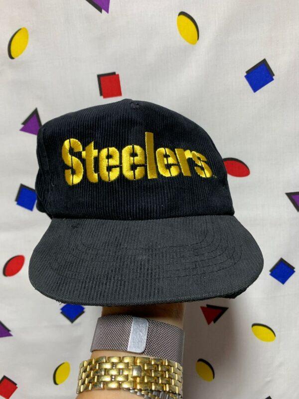 product details: VINTAGE PITTSBURGH STEELERS CORDUROY SNAPBACK HAT AS-IS photo