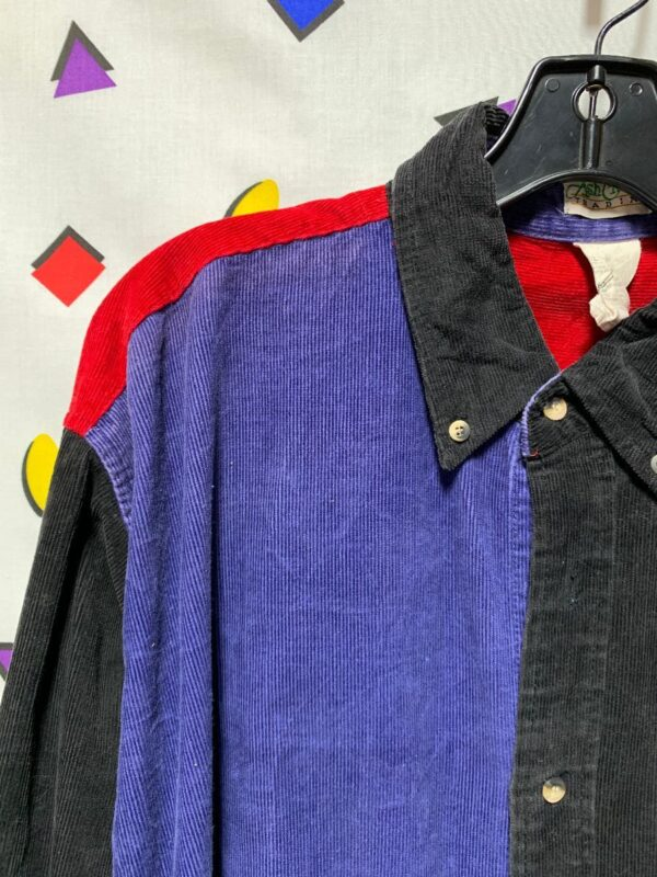 product details: AWESOME COLORBLOCK PATCHWORK CORDUROY LS BD SHIRT photo