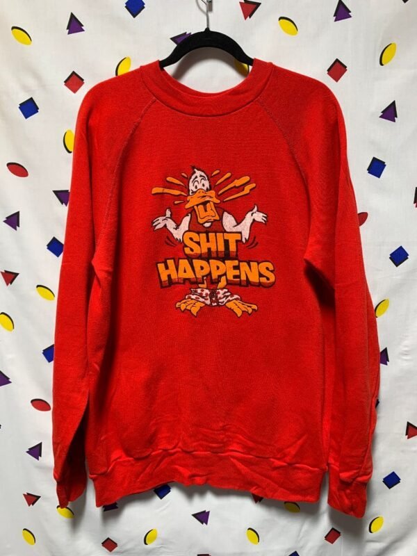 product details: SHIT HAPPENS HOWARD THE DUCK GRAPHIC PULLOVER SWEATSHIRT AS-IS photo