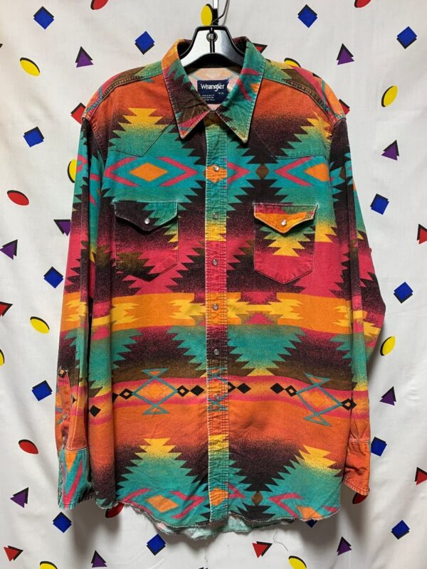 product details: RAD LONG SLEEVE FUNKY NAVAJO PATTERN SNAP BUTTON UP SHIRT photo