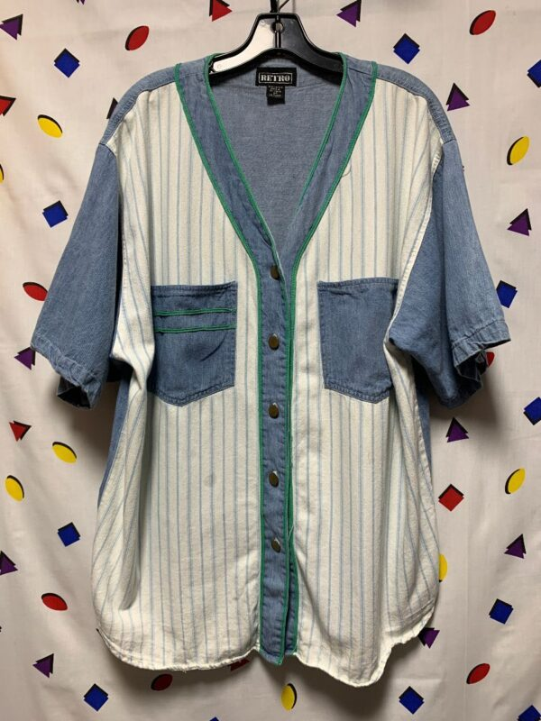 product details: 1990S PINSTRIPE PATCHWORK DENIM BASEBALL STYLE JERSEY BRASS BUTTONS AS-IS photo