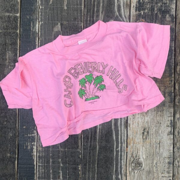 product details: *DEADSTOCK 90S COTTON CROP TOP CAMP BEVERLY HILLS 1977 PINK photo