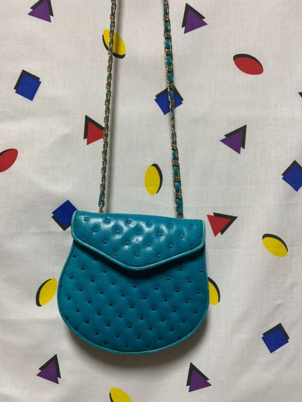 product details: 1980S CROSSBODY PURSE QUILTED LEATHER W/ CHAIN WOVEN STRAP photo