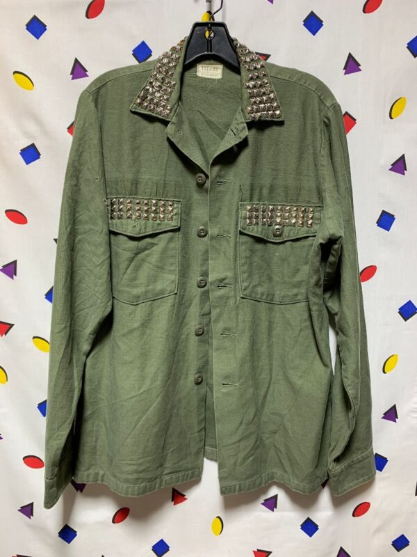product details: VINTAGE VIETNAM ERA MILITARY BUTTON UP FATIGUE WITH CHROME PYRAMID STUDS photo