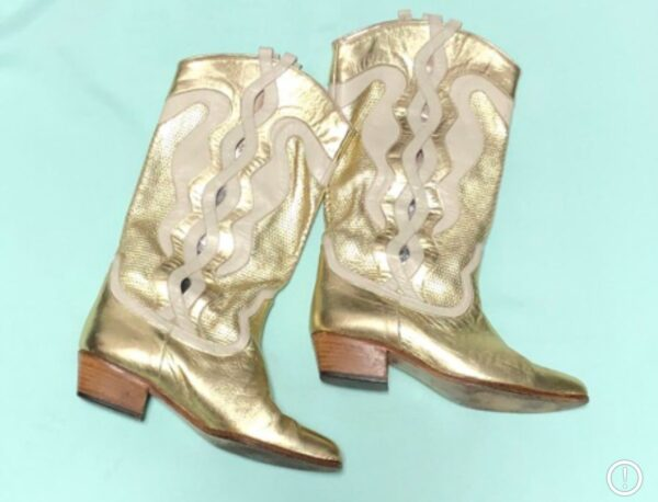 product details: AMAZING 1980S GOLD PERFORATED LEATHER COWBOY BOOTS photo