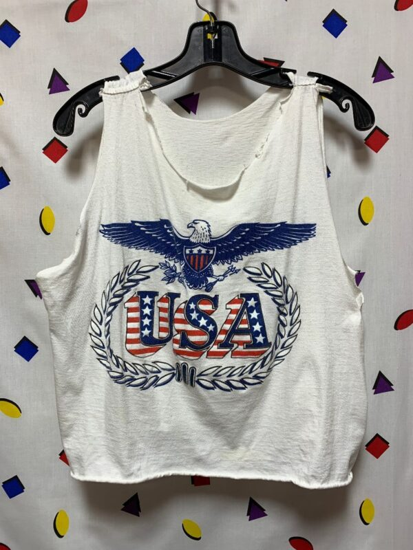 product details: CUT UP CROPPED USA TANK TOP PATRIOTIC EAGLE GRAPHIC AS-IS photo