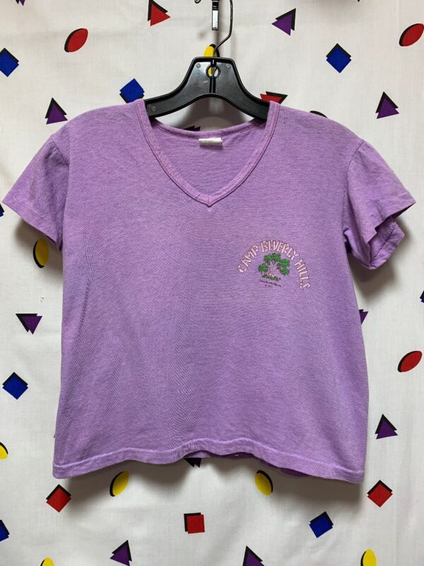 product details: CAMP BEVERLY HILLS V-NECK RIBBED CROPPED TEE AS-IS photo