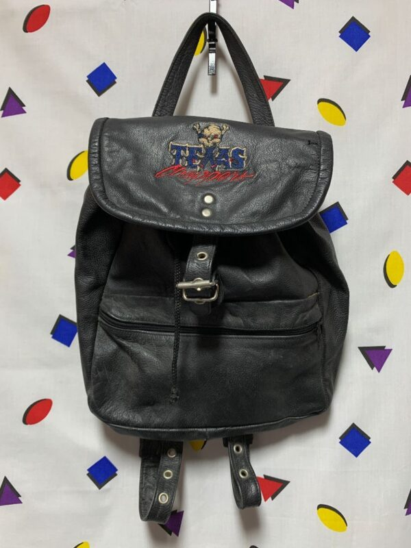 product details: 1990S LEATHER BACKPACK EMBROIDERED TEXAS CHOPPERS SUEDE INTERIOR photo