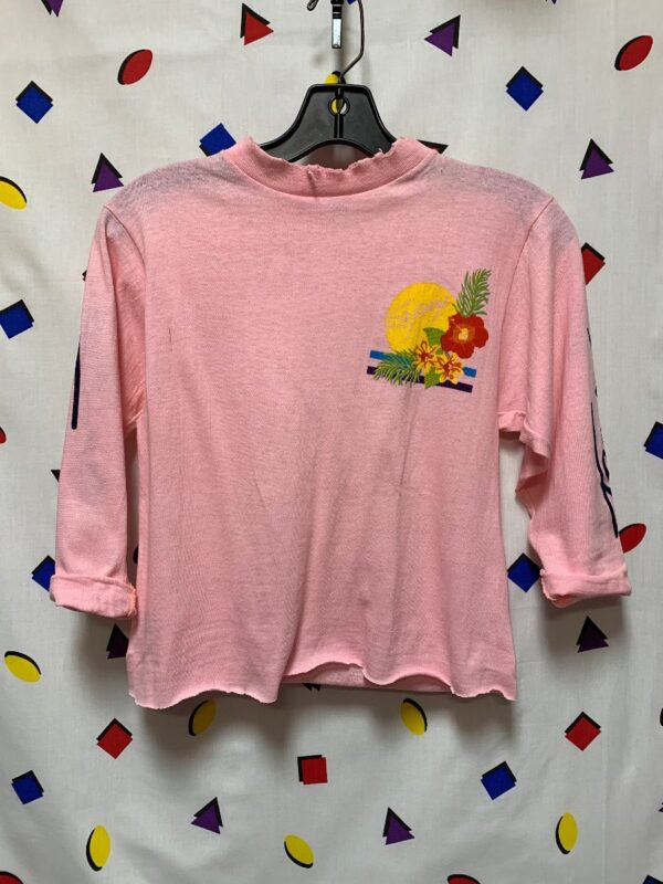 product details: 1980S DISTRESSED LONG SLEEVE TROPIX GRAPHIC CROPPED TSHIRT AS-IS photo